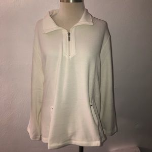 Karen Scott Half-Zip Pullover Sweater White XXL